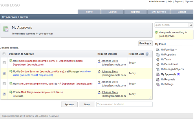 Active Directory Help Desk Management - Approvals