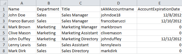 CSV file with user accounts