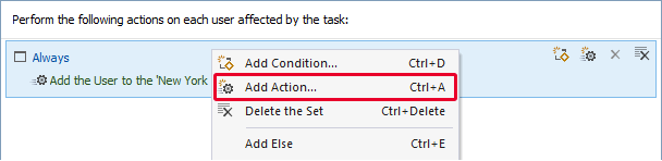 Scheduled Task: add new action