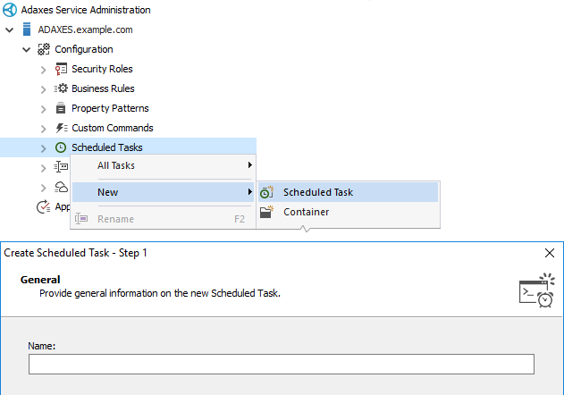 Launching the Create Scheduled Task wizard