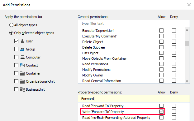 Granting the Permission to Modify a Specific Exchange Property