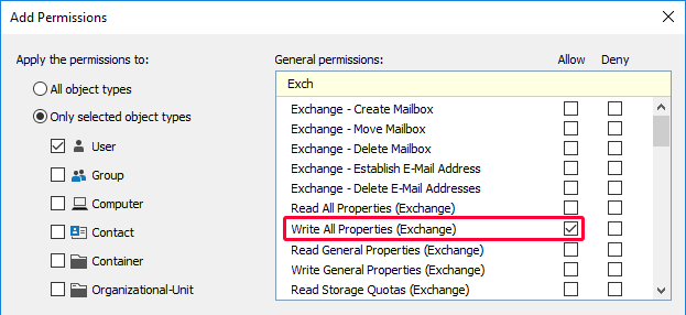 Granting the Permission to Modify All Exchange Properties