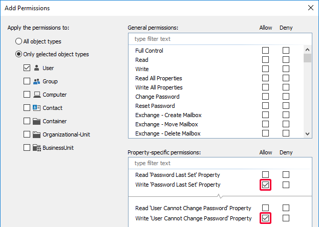 Grant additional password permissions