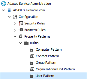 Selecting the built-in Property Pattern