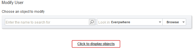 Click to Display Available Active Directory Objects
