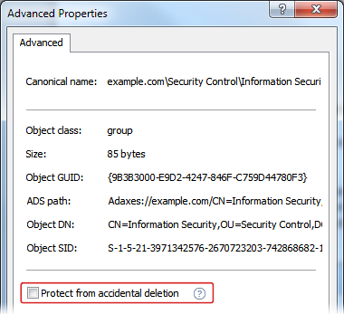 Protection from Accidental Deletion