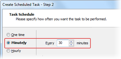 Minutely Interval for Scheduled Tasks