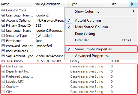 Show Empty Properties in Administration Console