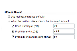 Storage Quotas for Exchange Online Mailboxes