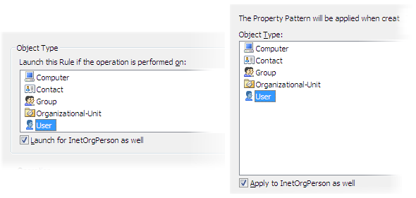 One Business Rule/Property Pattern for User and InetOrgPerson